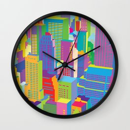Cityscape windows Wall Clock