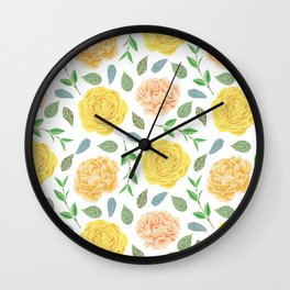 Hand painted yellow coral watercolor modern floral Wall Clock