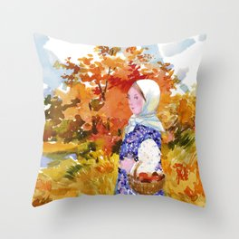 Heading to the Forest for Mushroom-Picking. Autumn Landscape. Girl's Portrait Throw Pillow
