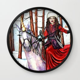 Winter Warrior by DeeDee Draz Wall Clock