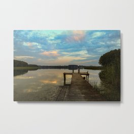 Sunset over the Masurian Lakes of Poland Metal Print