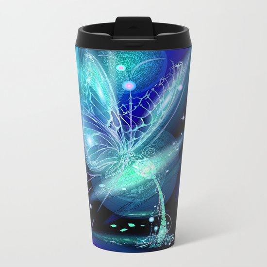 Galactic Butterfly Metal Travel Mug