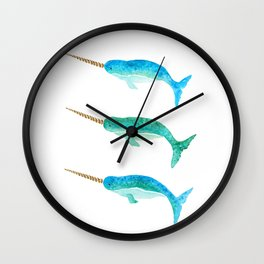 Aqua Narwhals Wall Clock