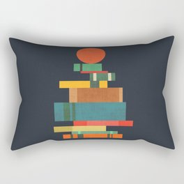 Book stack with a ball Rectangular Pillow