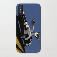 delorean iPhone & iPod Cases featuring Delorean - Retro Poster; Blue by Geoff Ombao Car Art