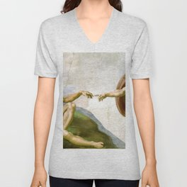 The Creation of Adam Painting by Michelangelo Sistine Chapel Unisex V-Neck