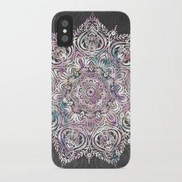 Dreaming Mandala - Magical Purple on Gray iPhone Case