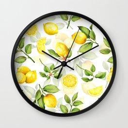 mediterranean summer lemon branches on white Wall Clock