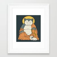 snorlax Framed Art Prints featuring Hotei Snorlax by Mallory Hodgkin