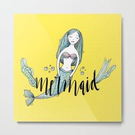 Art yellow sleeping mermaid Metal Print