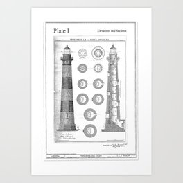 Vintage Bodie Island Lighthouse Diagram Art Print