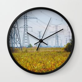 Landscape with power lines Wall Clock