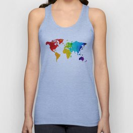 Original Watercolor - Map of The World - Travel Art - Chakra Rainbow Colors Unisex Tank Top