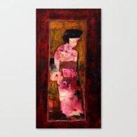 geisha Canvas Prints featuring Geisha by agnes Trachet