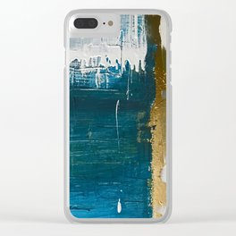 Rain [3]: a minimal, abstract mixed-media piece in blues, white, and gold by Alyssa Hamilton Art Clear iPhone Case