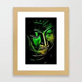 BuddhaFace greenyellow Framed Art Print