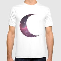 cosmic crescent moon Mens Fitted Tee MEDIUM White