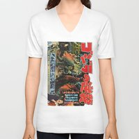 godzilla V-neck T-shirts featuring Godzilla by Golden Boy