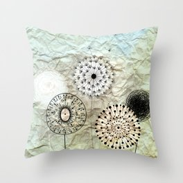 dandelions on the wrinkled paper Throw Pillow