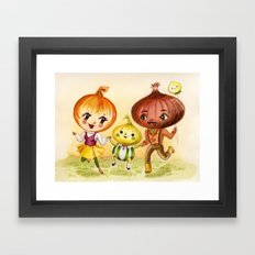 Kitschy Cute Onion Family Framed Art Print