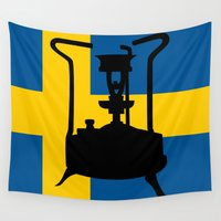 sweden Wall Tapestries featuring Sweden flag | Pressure stove by mailboxdisco