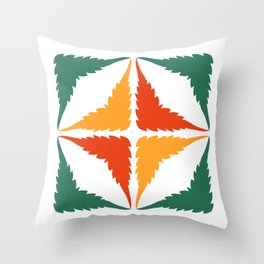 Cannabis Leaf Squares (Green Orange Yellow) Throw Pillow