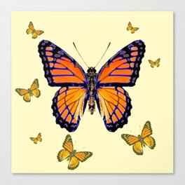 SPRING FLYING ORANGE MONARCH BUTTERFLIES ON CREAM Canvas Print