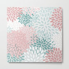 Floral Prints, Teal, Pink and White, Modern Print Art Metal Print