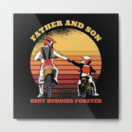 Father And Son Motorcycle Friends Forever Metal Print