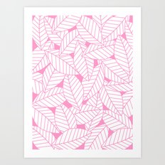 Leaves in Flamingo Art Print