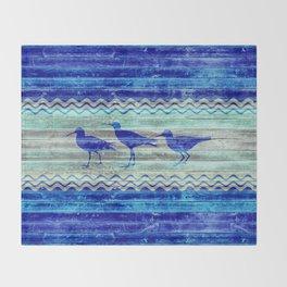 Rustic Navy Blue Coastal Decor Sandpipers Throw Blanket