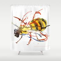 bee Shower Curtains featuring Bee by Lauren Thawley