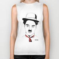 charlie chaplin Biker Tanks featuring Charlie Chaplin by ArpanDholi