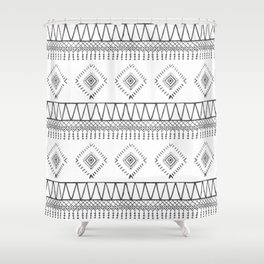 Gray Boho Aztec Shower Curtain