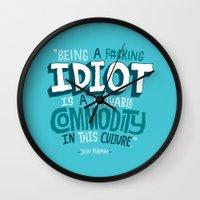 kardashian Wall Clocks featuring Idiot Commodity by Chris Piascik