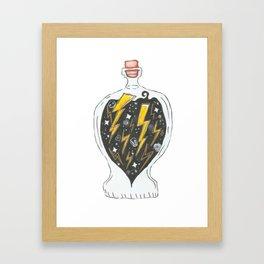 A bottle of thunder Framed Art Print