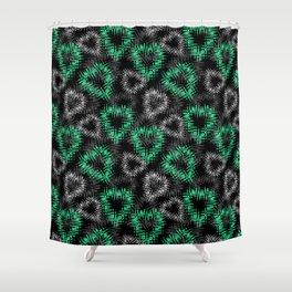 Broken heart . Black and green pattern . Shower Curtain