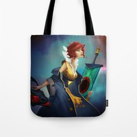 transistor Tote Bags featuring Red and Luna by Leksotiger