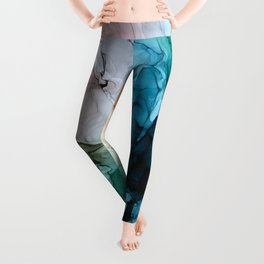 Salty Shores Abstract Painting Leggings