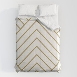 Diamond Series Pyramid Gold on White Comforters