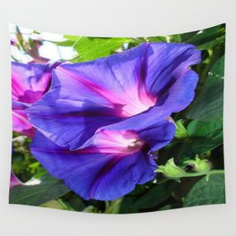 A Pair of Vibrant Morning Glories In Full Bloom Wall Tapestry