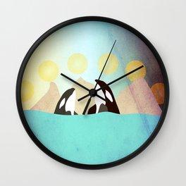Orcas under the Sun Wall Clock