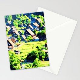 Watercolor of Shirakawa-go,gasshozukuri farmhouses Stationery Cards