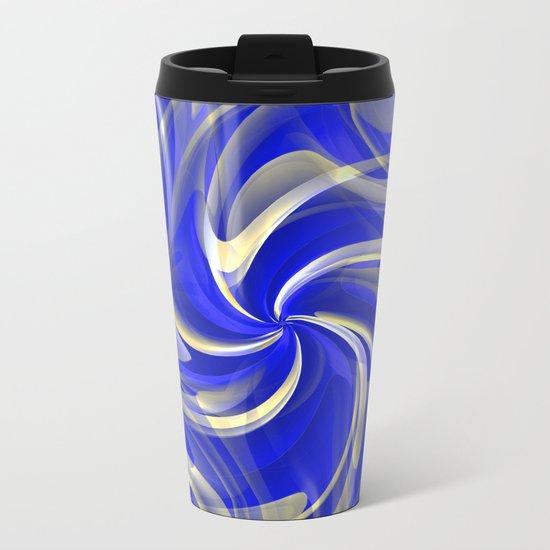 Ribbons of Blue Metal Travel Mug