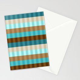 Mid Century Modern Stripe Pattern // Caribbean Blue, Ocean Blue, Dark Brown, Coffee Brown, Khaki Stationery Cards