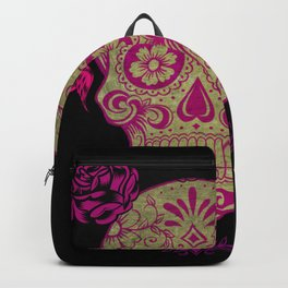 Sugar Skull Green and Pink Backpack