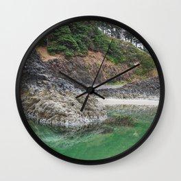 Oregon Coast Tide Pool Green Glowing Forest Coastal Cliff Rocky Landscape Beach Northwest Volcano Wall Clock