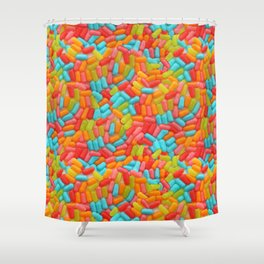 Colorful Tropical Jelly Bean Candy Photo Pattern Shower Curtain