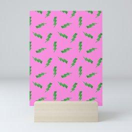 Green Glitter Lightning Bolts in Pink Mini Art Print