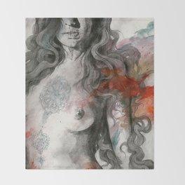 Edit Your Wounds (nude mandala girl erotic drawing) Throw Blanket